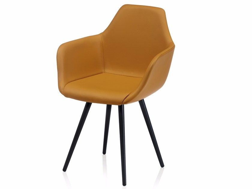 Upholstered leather chair with armrests Y CONE | Leather chair by ALMA DESIGN
