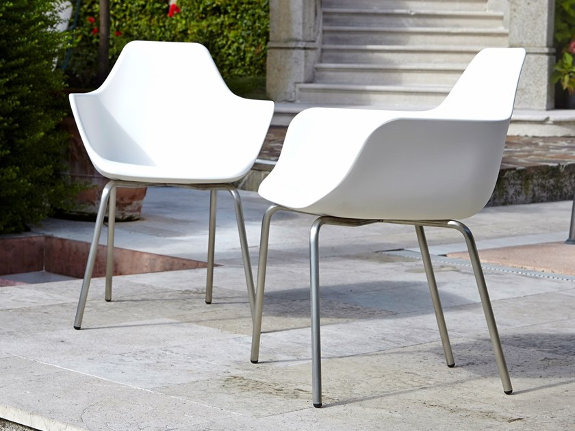 Stackable polyethylene chair with armrests Y FOUR by ALMA DESIGN