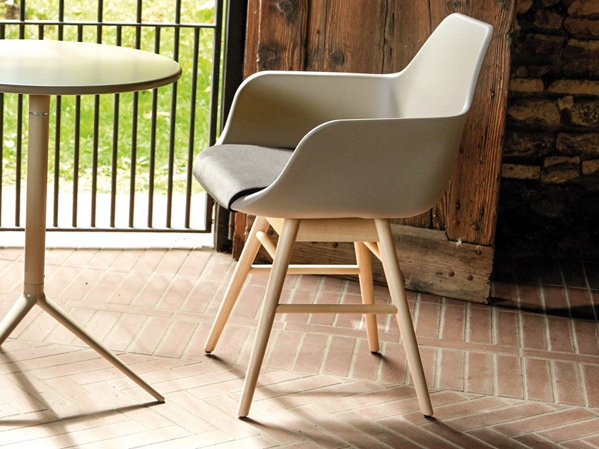 Restaurant chair with armrests Y WOOD 2 by ALMA DESIGN