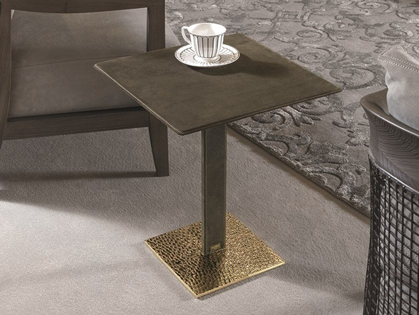 Square Leather Coffee Table Yaki By Longhi