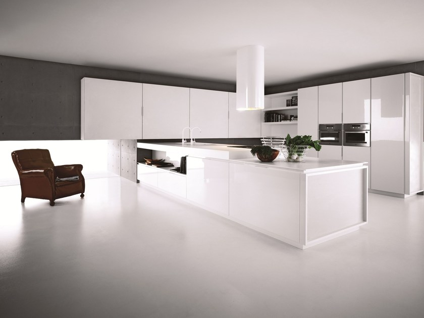 Lacquered kitchen with peninsula YARA - COMPOSITION 1 by Cesar Arredamenti