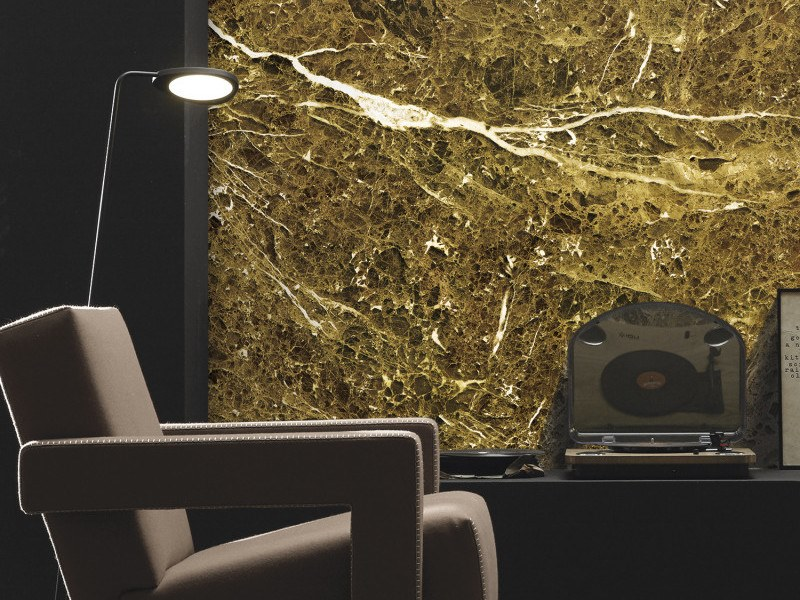 Washable panoramic wallpaper with marble effect YELLOW EMPERADOR MARBLE | Panoramic wallpaper by Koziel