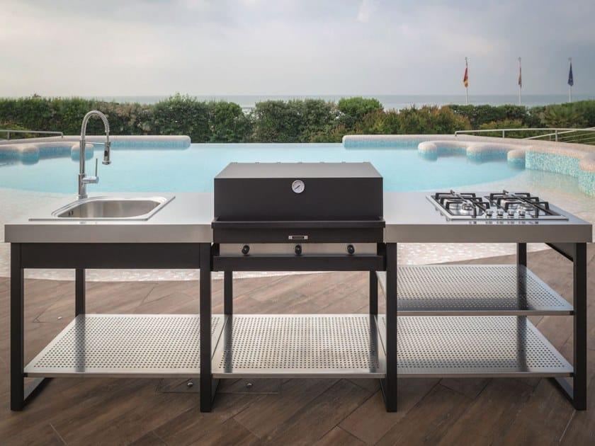 Tavolo Da Giardino Con Barbecue.Cucina Da Esterno Modulare Con Barbecue E Piano Cottura