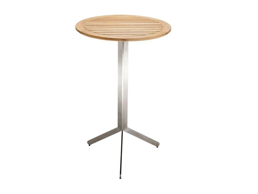 Yix tavolo alto tavolo alto pieghevole rotondo in acciaio inox e legno