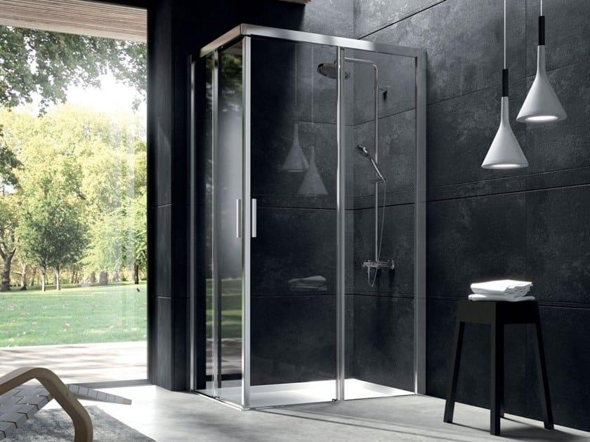 Corner crystal shower cabin with sliding door YOKO | Corner shower cabin by Blu Bleu