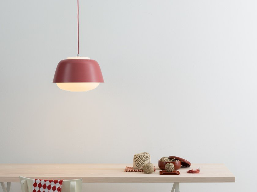 Glass and steel pendant lamp YOKO by TEO