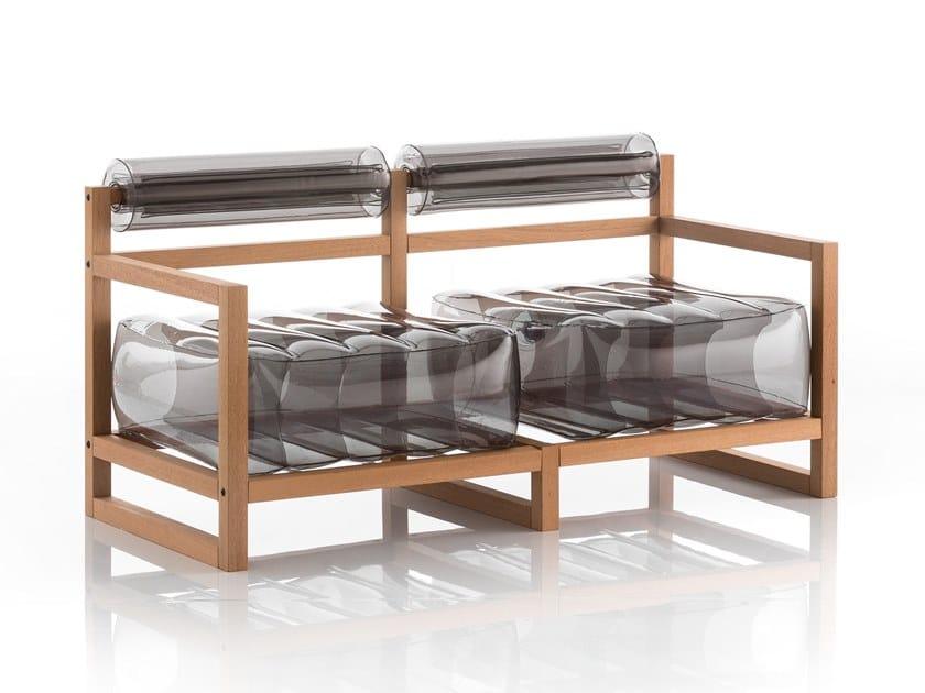 Sofá inflável 2 lugares de PVC YOKO | Sofá de madeira-PVC by Mojow