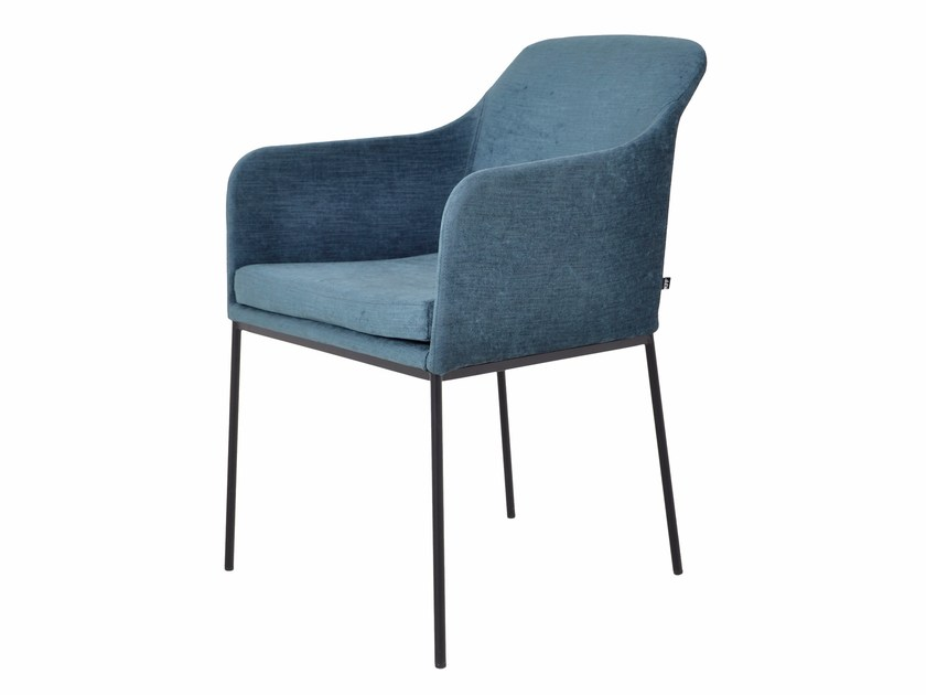 Upholstered velvet chair with armrests YOUMA | Upholstered chair by KFF