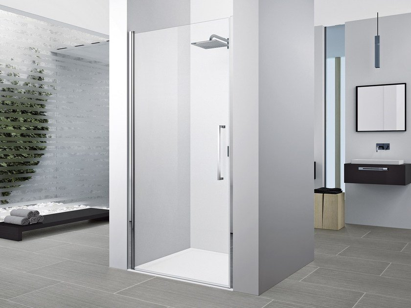 Corner shower cabin with hinged door YOUNG 2.0 1B by NOVELLINI