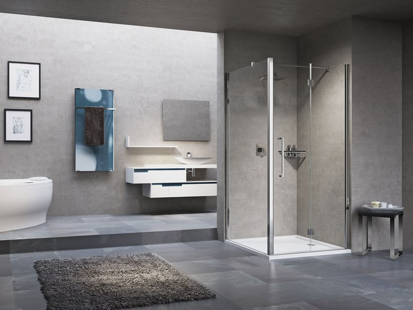 Shower cabin with folding door YOUNG 2.0 1BS+F1B by NOVELLINI