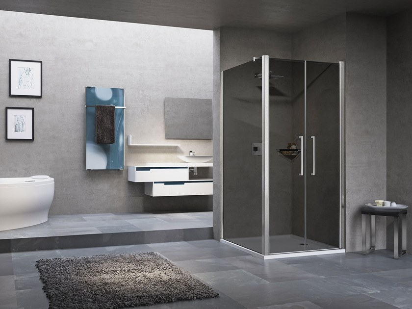 Shower cabin with hinged door YOUNG 2.0 2B by NOVELLINI