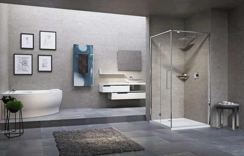 Corner shower cabin with folding door YOUNG 2.0 2GS+FG by NOVELLINI