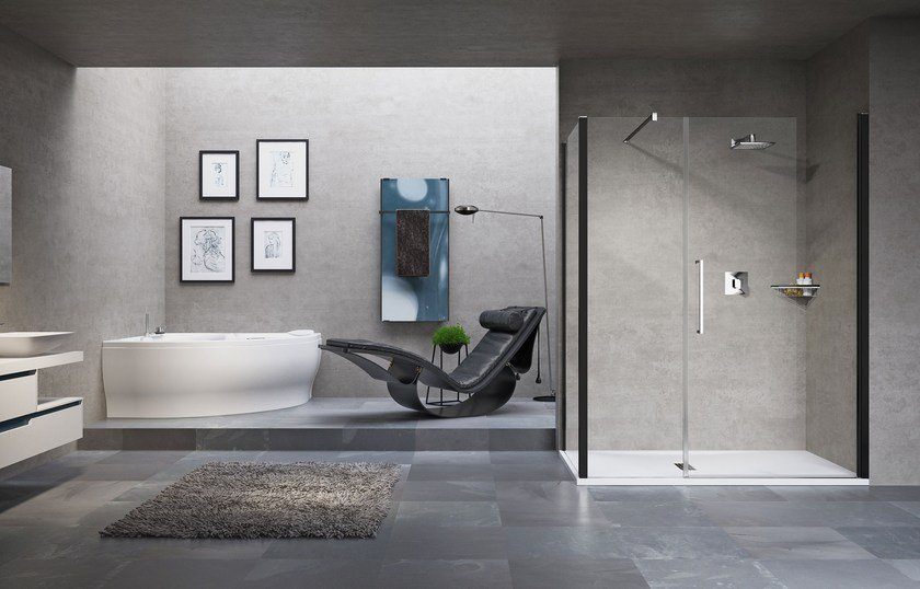 Rectangular shower cabin with hinged door YOUNG 2.0 G+F IN LINE +F1B by NOVELLINI