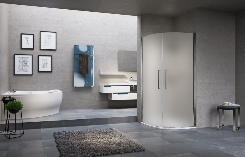 Semicircular shower cabin with hinged door YOUNG 2.0 R2 LUX by NOVELLINI