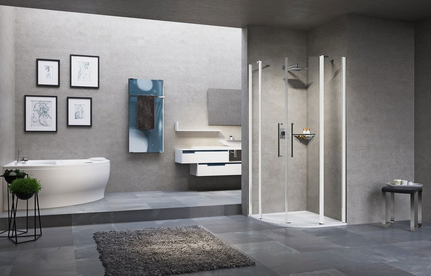 Semicircular shower cabin with hinged door YOUNG 2.0 R2 by NOVELLINI