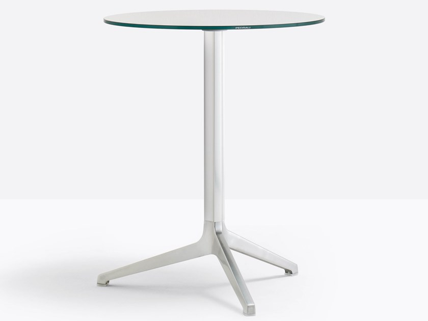 Drop-leaf stackable glass and aluminium table YPSILON 4790V by Pedrali