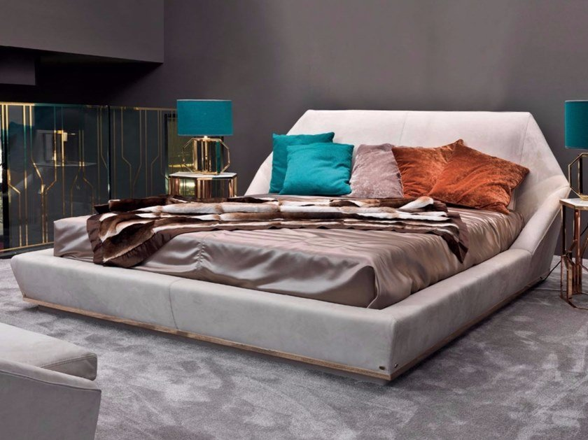 Double bed with upholstered headboard YUME   Bed by Longhi