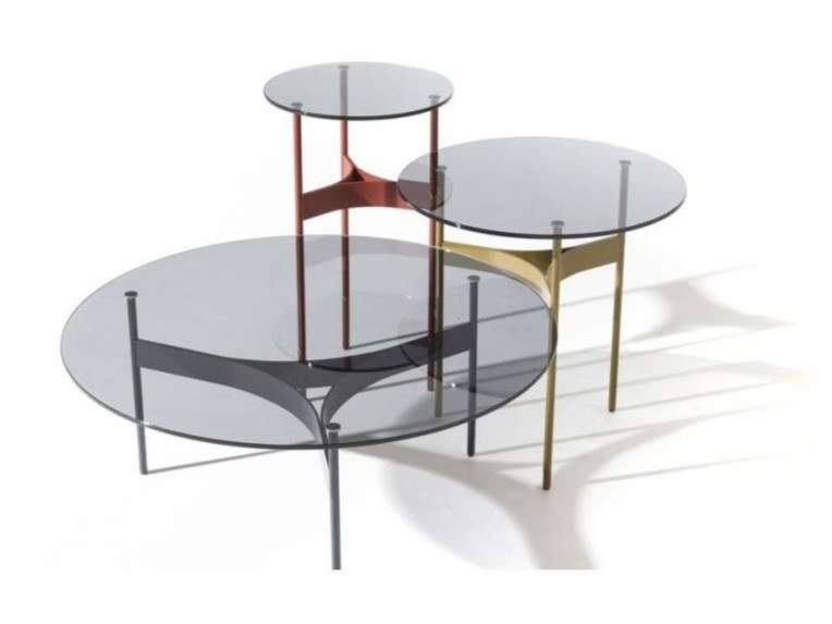 Round crystal and steel coffee table YUMI | Coffee table by Moroso
