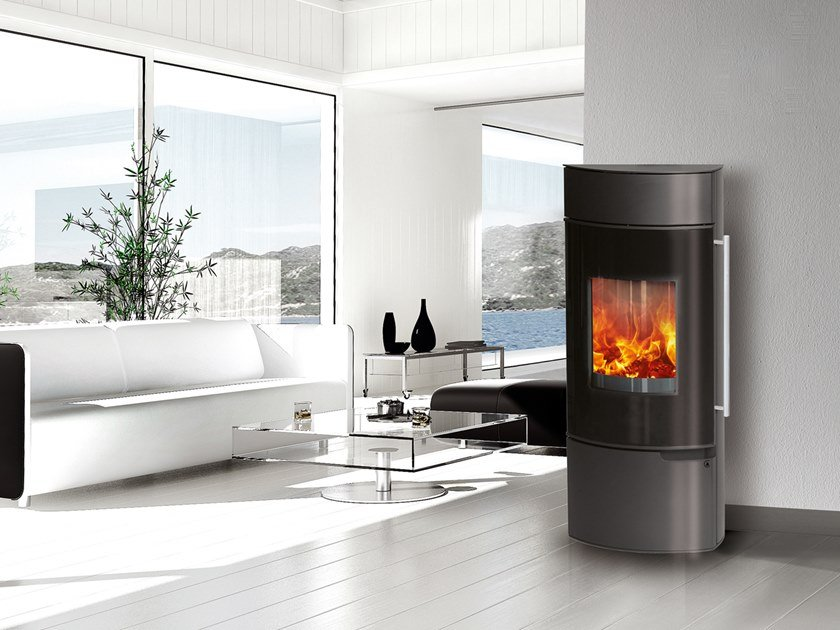 Wood-burning Class A wall-mounted steel stove YVONNE by CAMINETTI MONTEGRAPPA