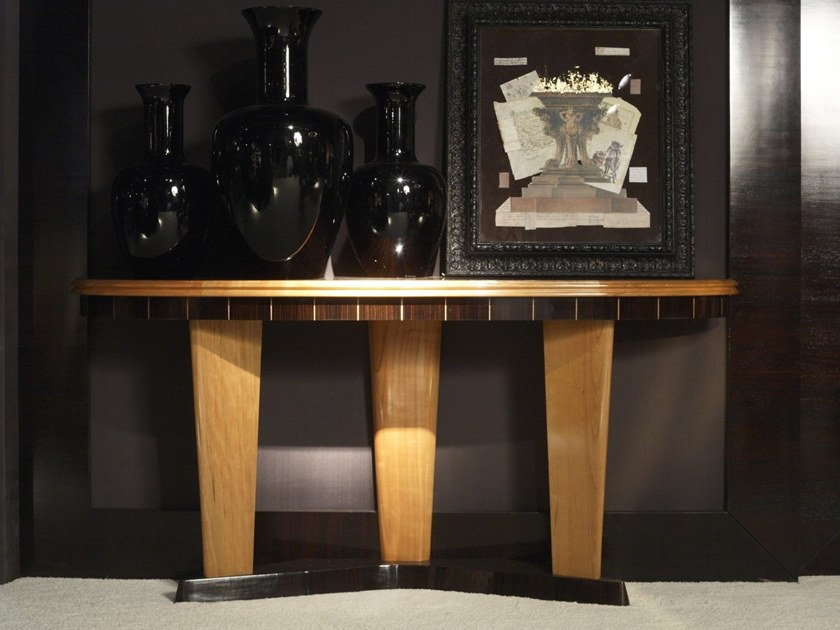 Demilune ebony console table Z 1381   Console table by Annibale Colombo