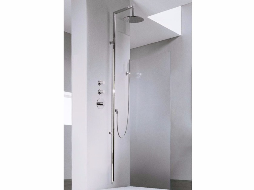 Wall-mounted shower panel with hand shower Z-POINT | Shower panel by ZAZZERI