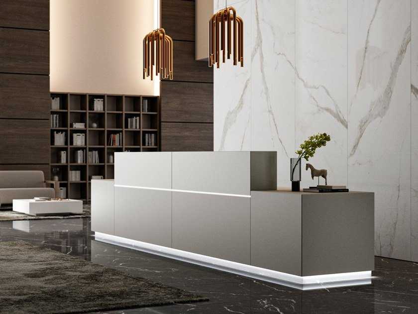Wooden Office reception desk with Built-In Lights Z1 by Quadrifoglio