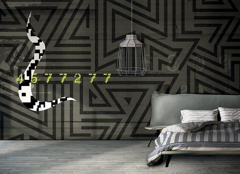 Carta da parati a righe effetto muro geometrica in materiale sintetico in stile moderno ZAG by N.O.W.  Edizioni