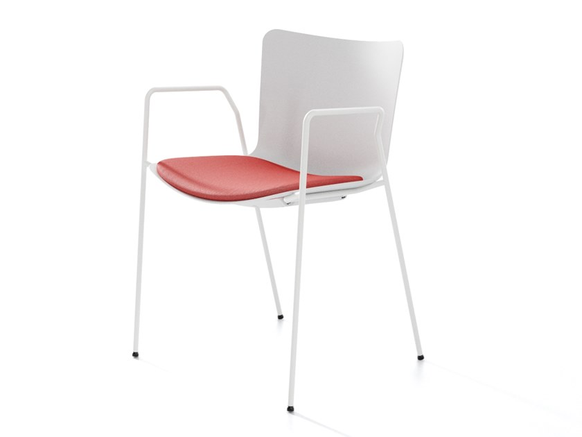 Stackable polypropylene chair with armrests ZAZA BR by IBEBI