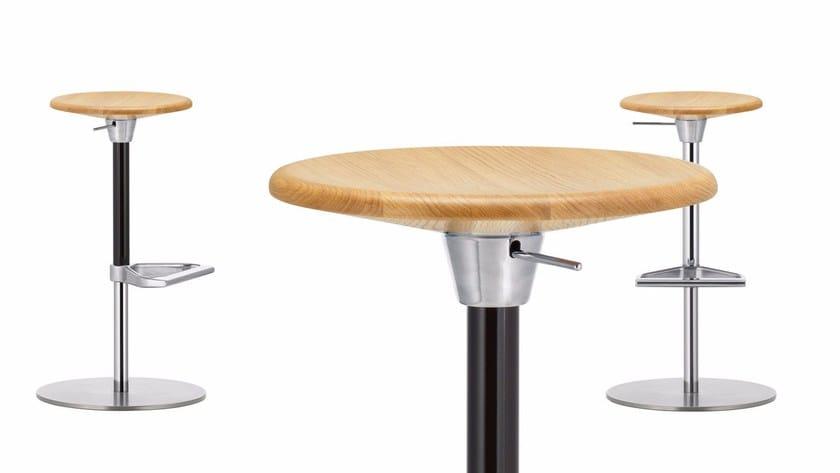 Swivel Height Adjustable Wooden Stool ZEB STOOL WOOD By Vitra