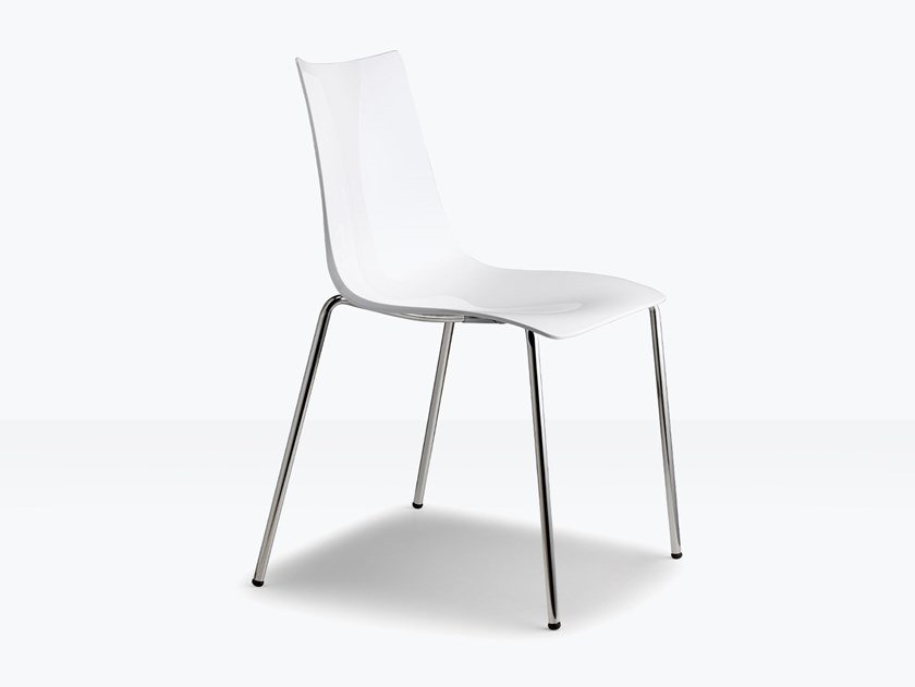 Stackable polycarbonate chair ZEBRA ANTISHOCK | Chair by SCAB DESIGN