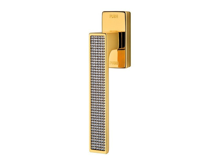 Contemporary style anti-intrusion DK window handle with Swarovski® Crystals ZEN MESH | Anti-intrusion window handle by LINEA CALI'