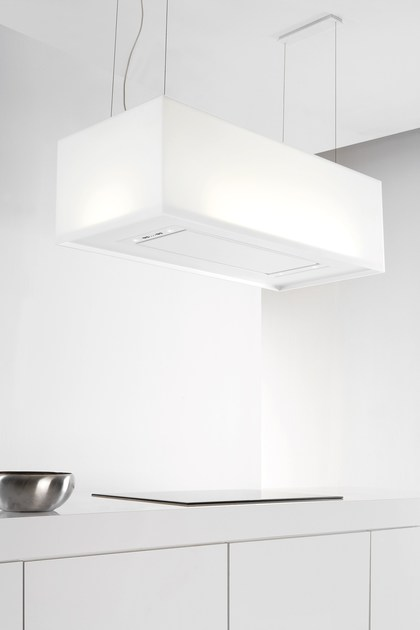 HI-MACS® island hood with integrated lighting 7520 ZEN by NOVY