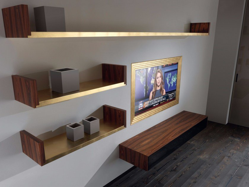 Wall-mounted rosewood TV cabinet ZERO.DECO' by RES