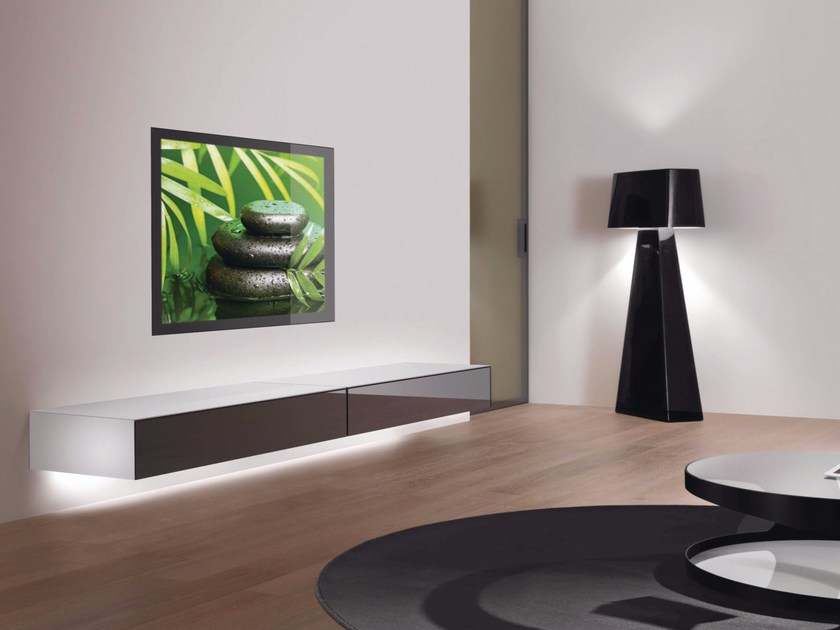 Wall-mounted TV cabinet with built-in speakers ZERO.ZERO by RES