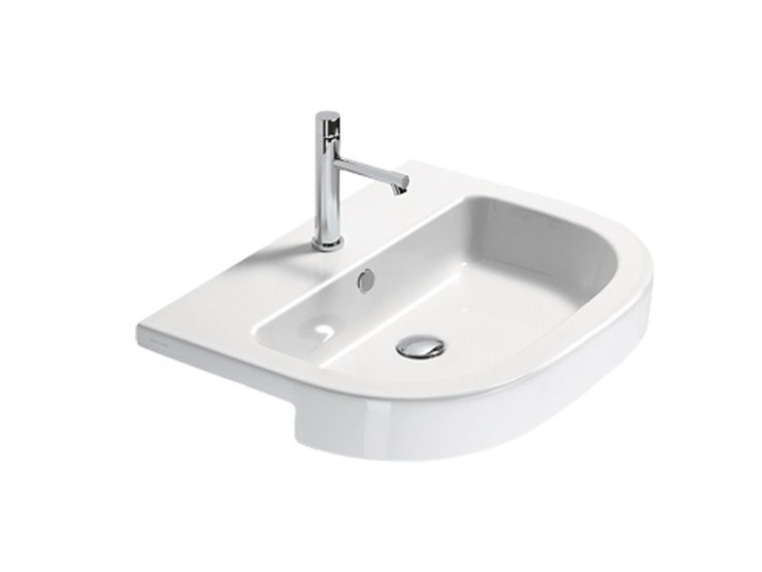 Semi-inset ceramic washbasin ZEROTONDO by CERAMICA CATALANO