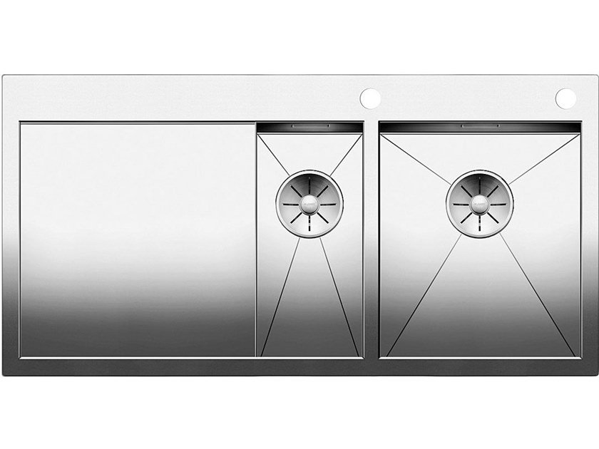 2 bowl flush-mounted stainless steel sink with drainer BLANCO ZEROX 6 S-IF by Blanco