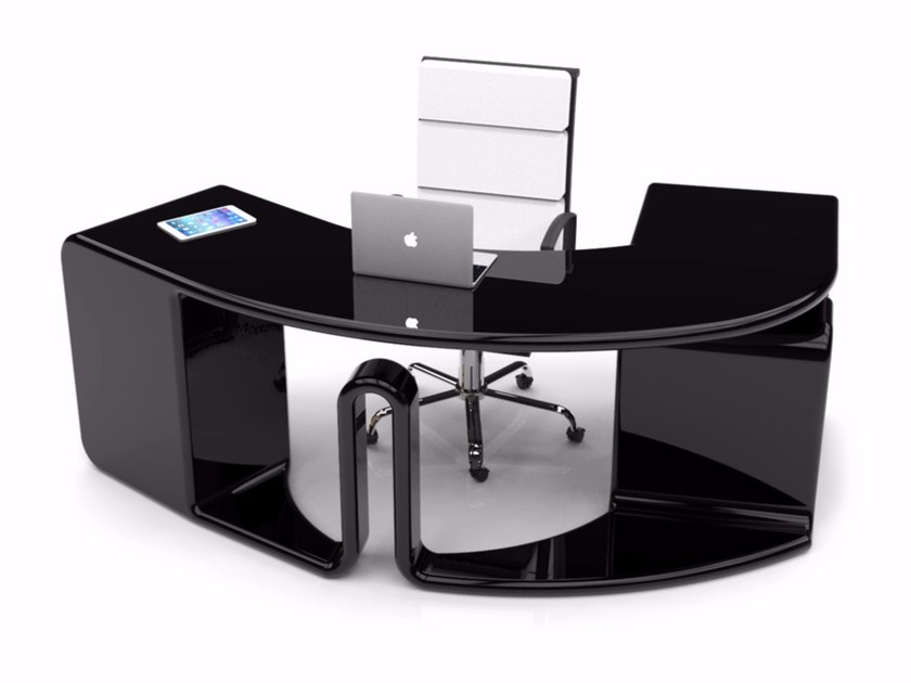 Lacquered Adamantx® office desk with drawers ZETYA by ZAD ITALY