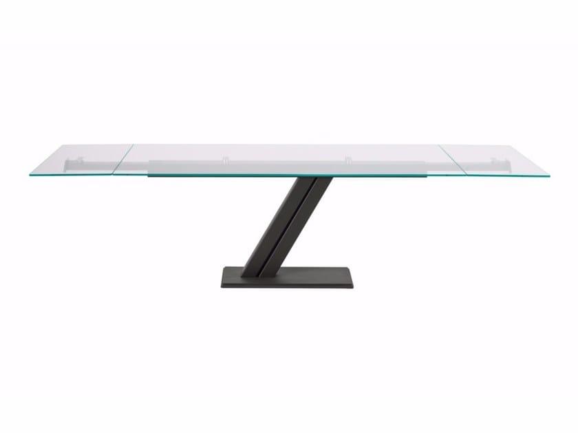 Extending rectangular crystal table ZEUS DRIVE by Cattelan Italia