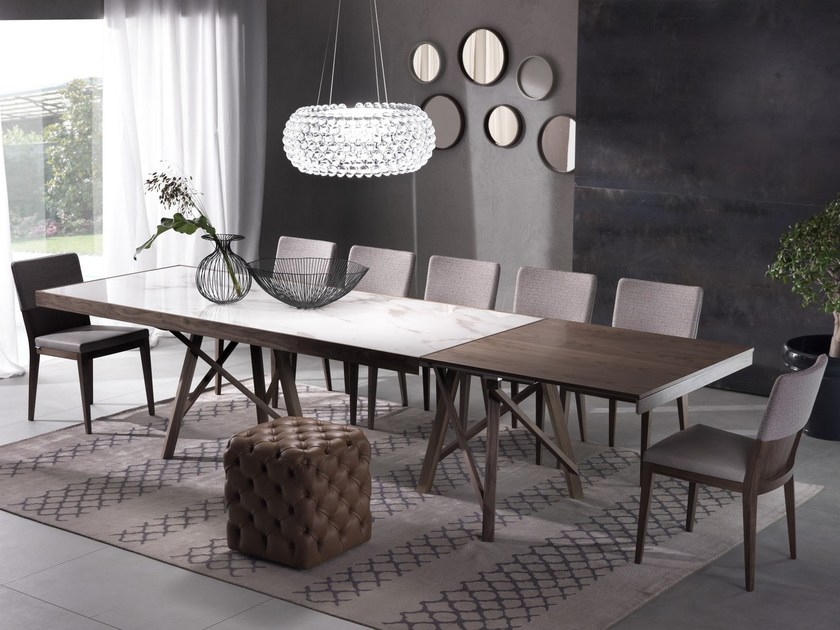Extending rectangular table ZEUS | Ceramic table by Pacini & Cappellini