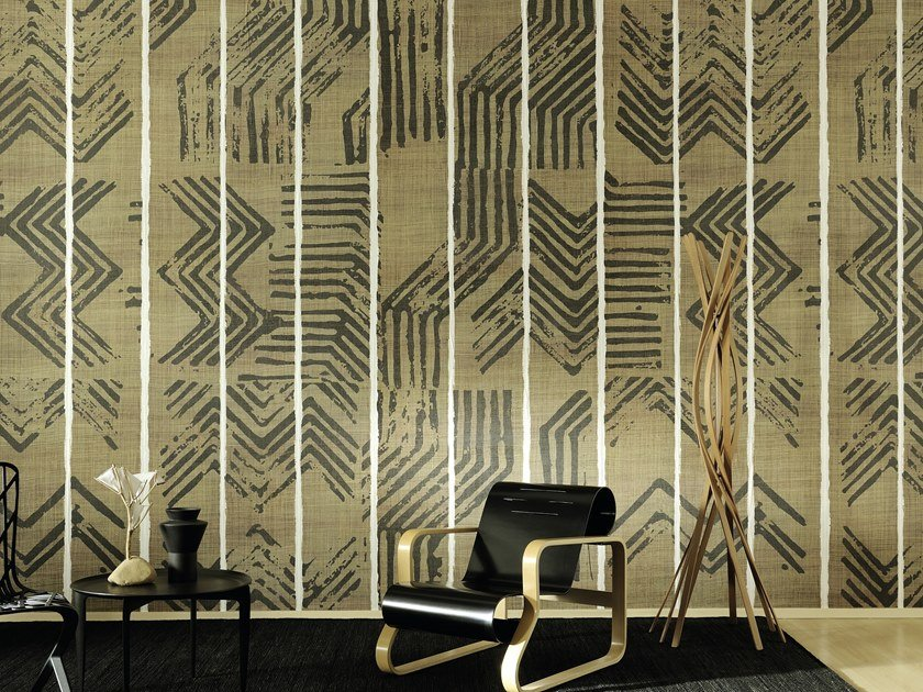 Motif panoramic vinyl wallpaper ZIG ZAG by Élitis
