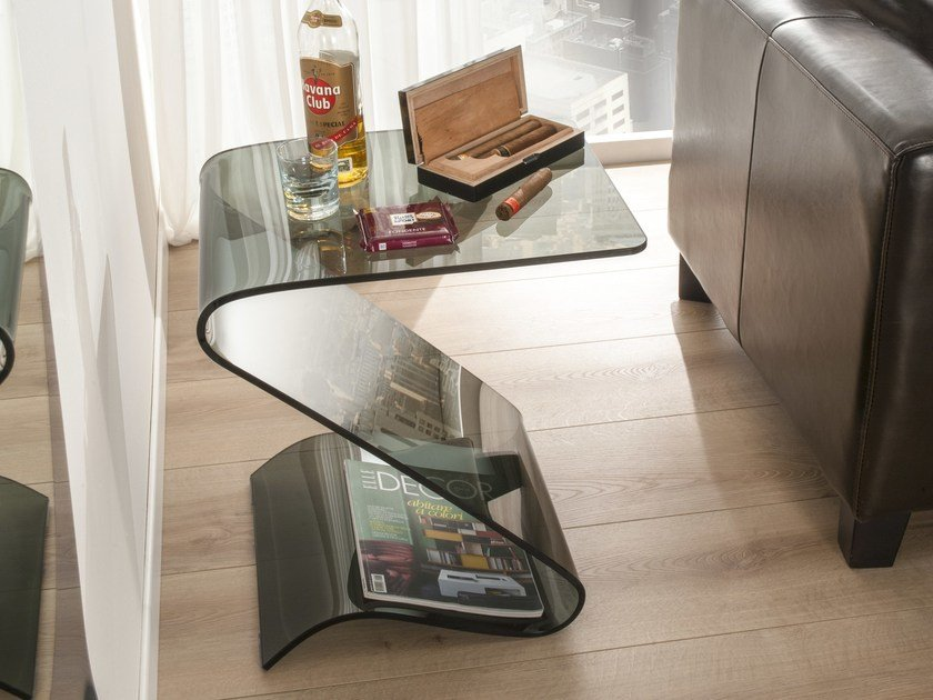Glass side table with storage space ZIGZAG by IDEAS Group