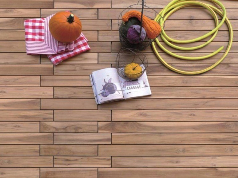 Wooden outdoor floor tiles ZIP by Bruno Parquet