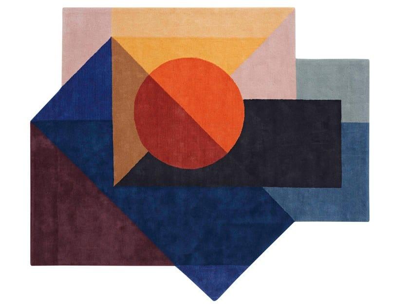 Wool rug with geometric shapes ZOE KUBB by GAN