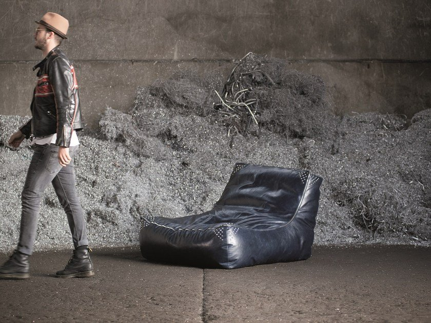 Leather armchair with removable cover ZOE ROCK by Verzelloni