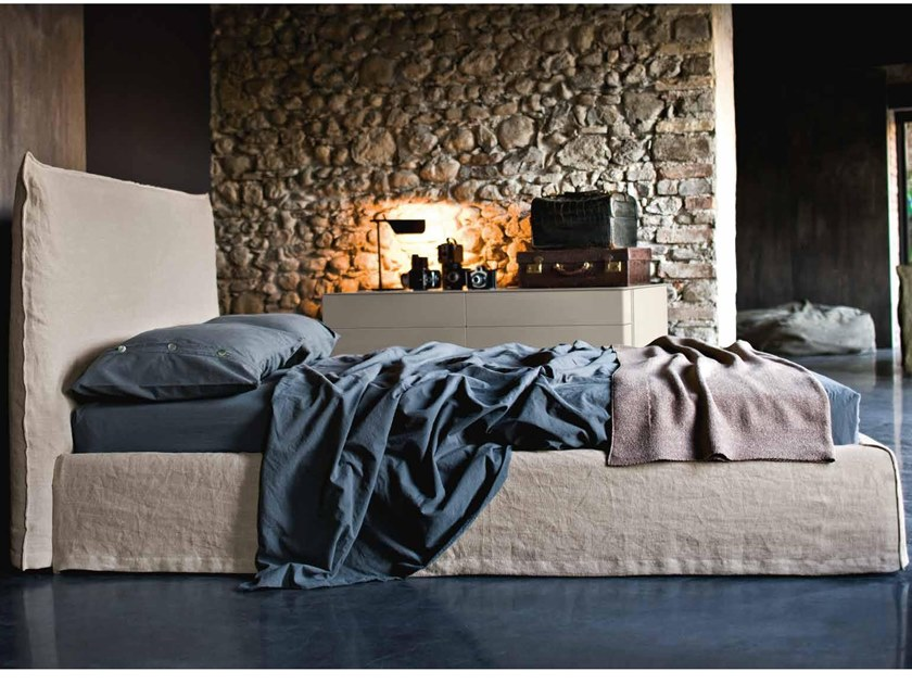 Fabric double bed with upholstered headboard ZOE by ZANETTE