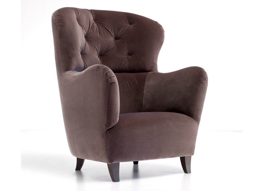 Bergere tufted upholstered armchair A 1380 | Armchair by Annibale Colombo