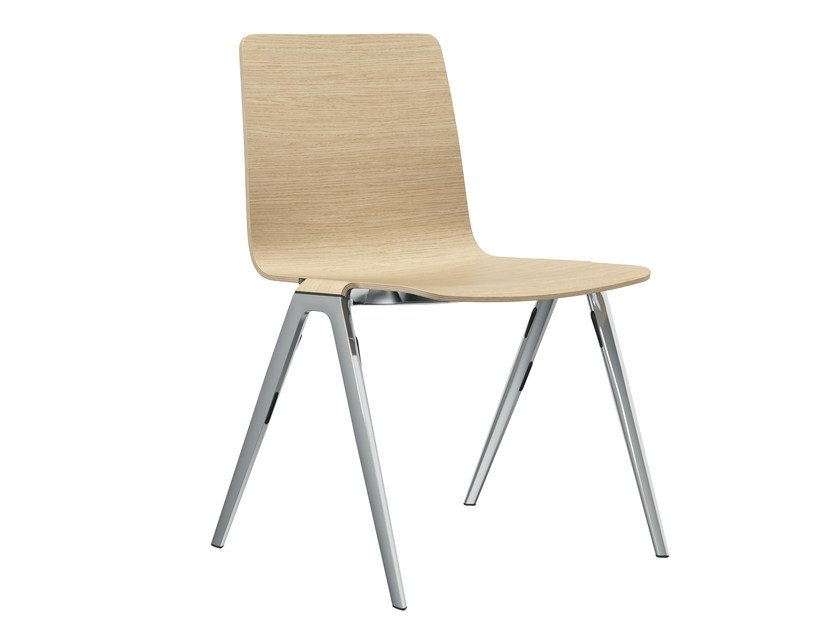 Stackable wood veneer chair A-CHAIR | Chair by Brunner