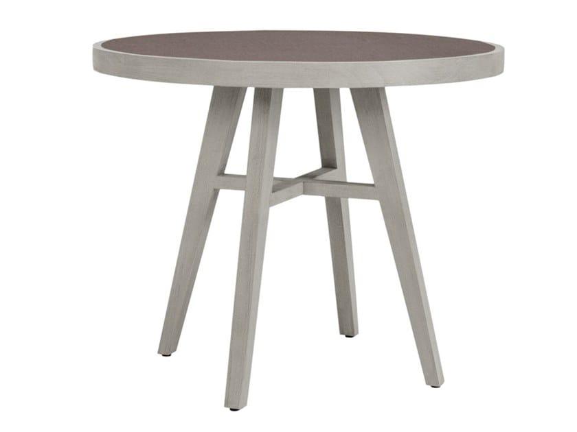 Teak round garden table with ceramic insert ROCK GARDEN   Round table by JANUS et Cie