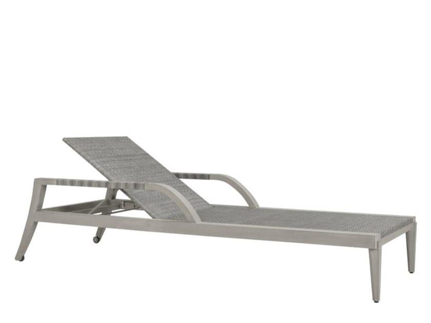 Recliner teak sun lounger with armrests ROCK GARDEN | Sun lounger by JANUS et Cie