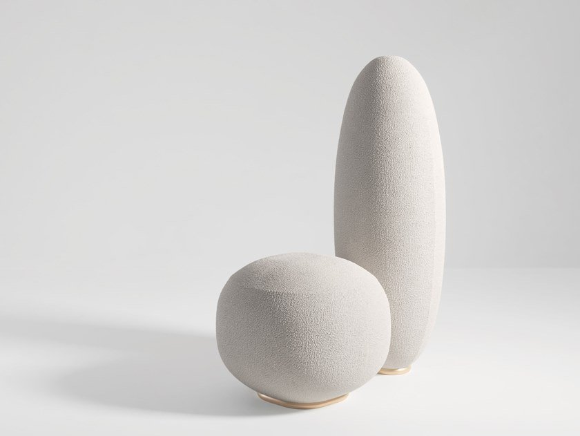 Upholstered easy chair BALANCING ROCK by Secolo
